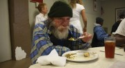 Guest enjoys a holiday meal at the Charlotte Rescue Mission